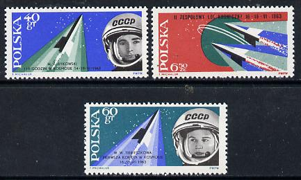 Poland 1963 2nd Team Manned Space Flight set of 3 unmounted mint, SG 1402-04