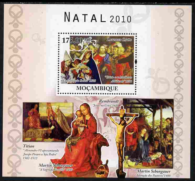 Mozambique 2010 Christmas - Religious Paintings perf s/sheet unmounted mint