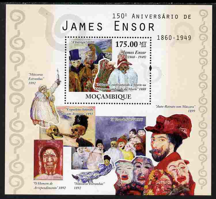 Mozambique 2010  150th Birth Anniversary of James Ensor perf s/sheet unmounted mint, stamps on personalities, stamps on arts, stamps on
