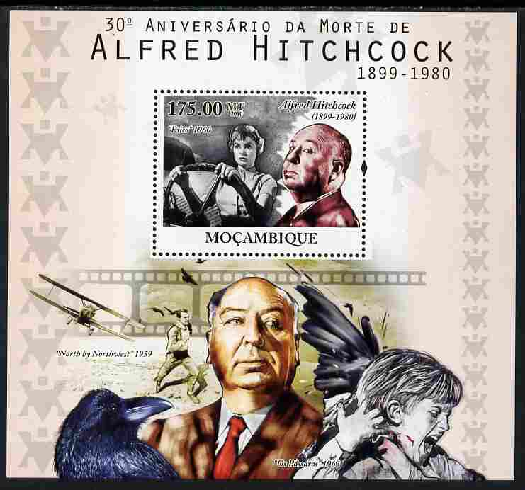 Mozambique 2010  30th Death Anniversary of Alfred Hitchcock perf s/sheet unmounted mint