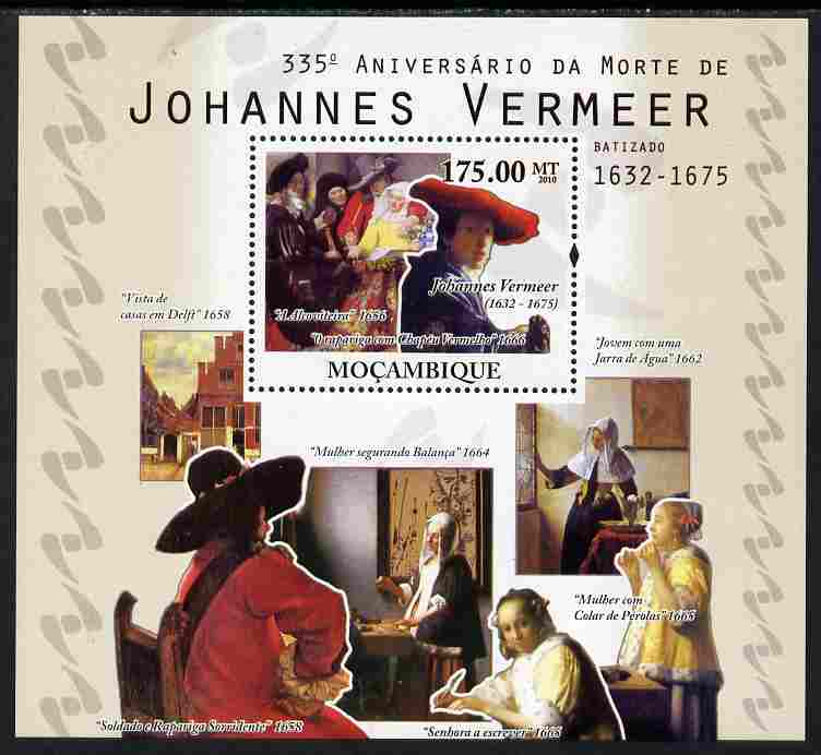 Mozambique 2010  335th Death Anniversary of Johannes Vermeer perf s/sheet unmounted mint