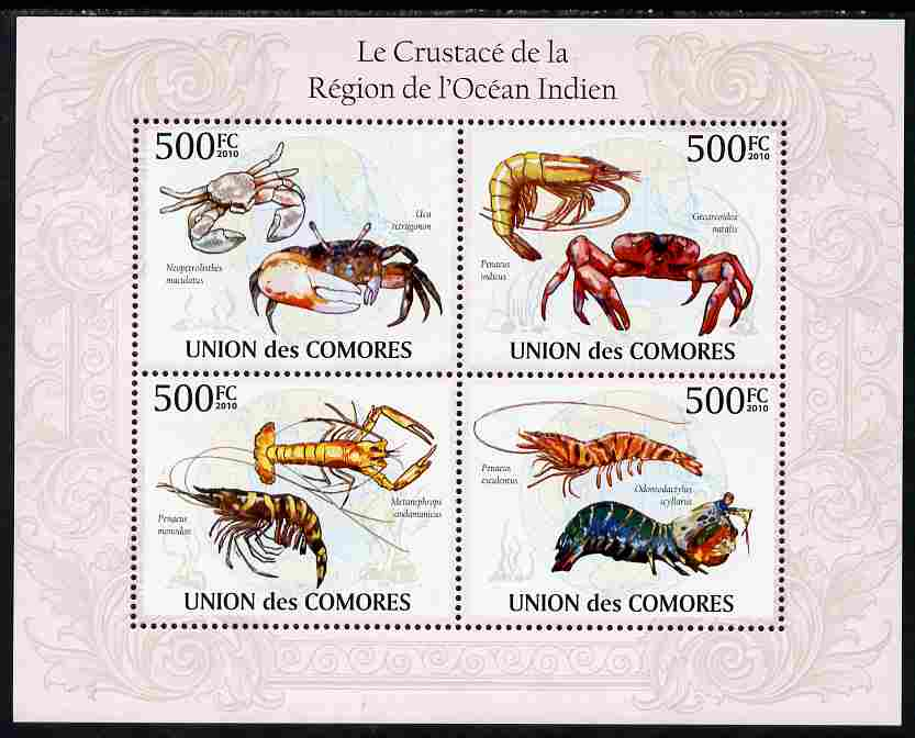 Comoro Islands 2010 Crustaceans from the Indian Ocean Region perf sheetlet containing 4 values unmounted mint, Michel 2672-75