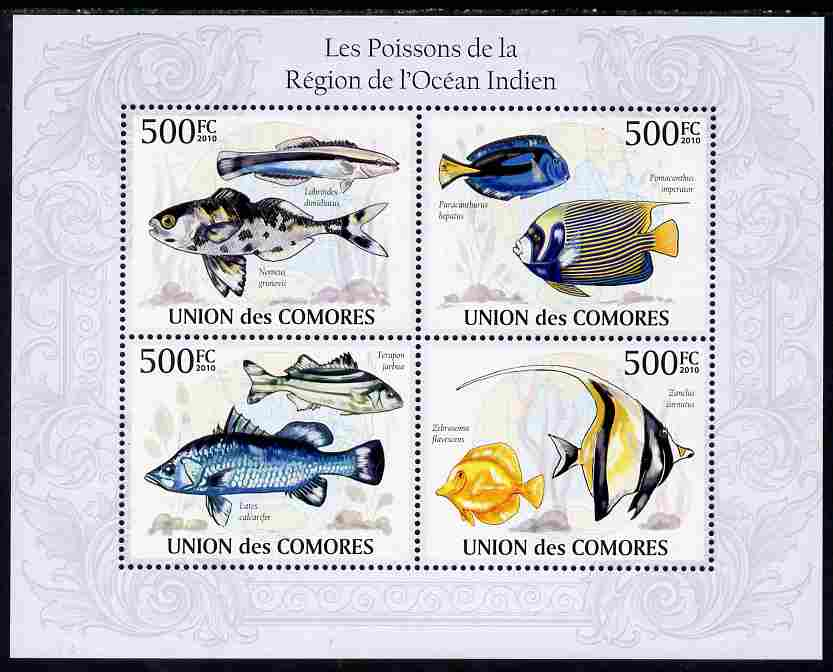 Comoro Islands 2010 Fish from the Indian Ocean Region perf sheetlet containing 4 values unmounted mint, Michel 2682-85