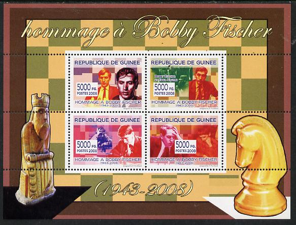 Guinea - Conakry 2008 Tribute to Bobby Fischer perf sheetlet containing 4 values unmounted mint