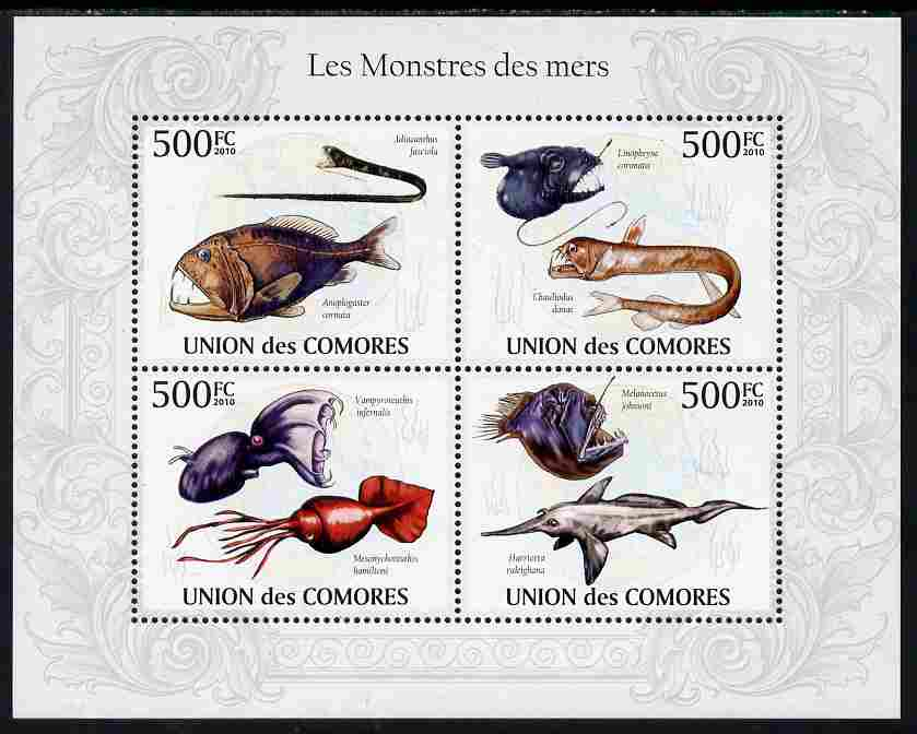 Comoro Islands 2010 Monsters of the Sea perf sheetlet containing 4 values unmounted mint, Michel 2690-93