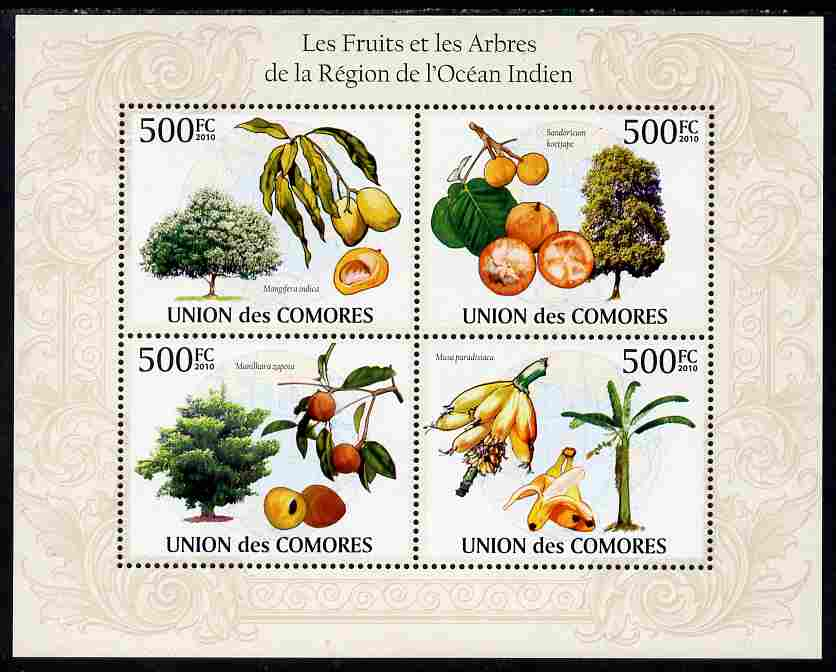 Comoro Islands 2010 Fruits & Trees from the Indian Ocean Region perf sheetlet containing 4 values unmounted mint, Michel 2661-64
