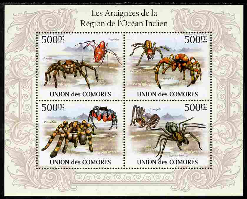 Comoro Islands 2010 Spiders from the Indian Ocean Region perf sheetlet containing 4 values unmounted mint, Michel 2677-80