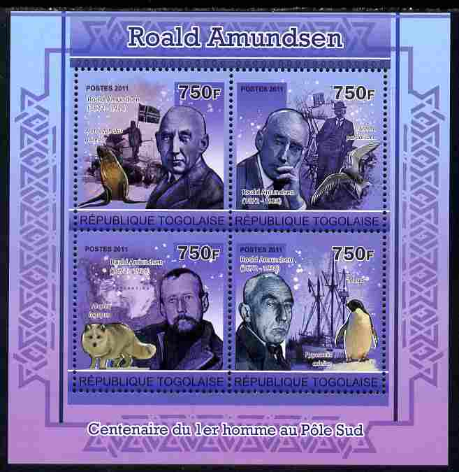 Togo 2011 Roald Amundsen perf sheetlet containing 4 values unmounted mint