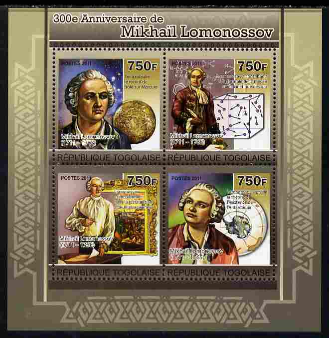 Togo 2011 300th Birth Anniversary of  Mikhail Lomonosov perf sheetlet containing 4 values unmounted mint