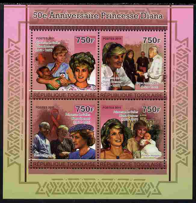 Togo 2011 50th Birth Anniversary of  Princess Diana perf sheetlet containing 4 values unmounted mint