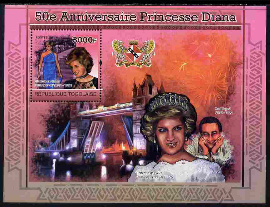 Togo 2011 50th Birth Anniversary of  Princess Diana perf s/sheet unmounted mint