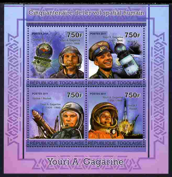 Togo 2011 50th Anniversary of First Manned Space Flight perf sheetlet containing 4 values unmounted mint