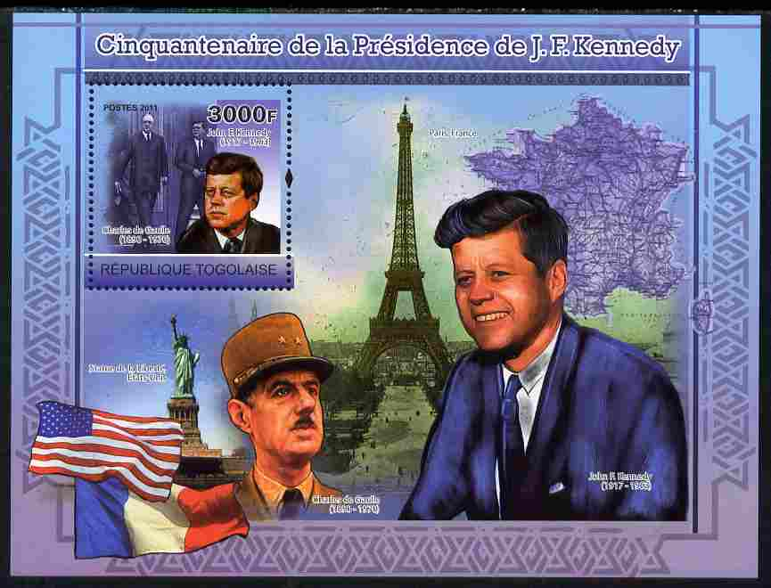 Togo 2011 50th Anniversary of Presidency of John F Kennedy perf s/sheet unmounted mint