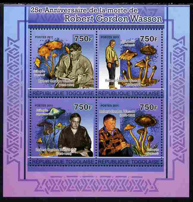 Togo 2011 25th Death Anniversary of  Robert Gordon Wasson perf sheetlet containing 4 values unmounted mint