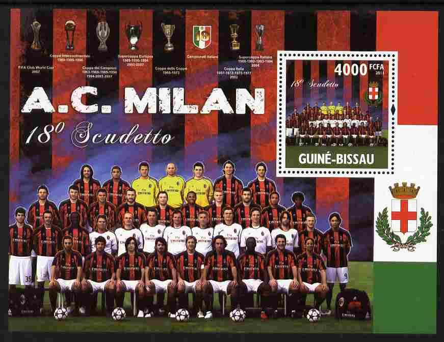 Guinea - Bissau 2011 AC Milan - 18th Scudetto perf s/sheet unmounted mint