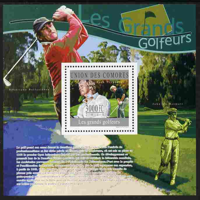 Comoro Islands 2010 Great Golfers perf s/sheet unmounted mint