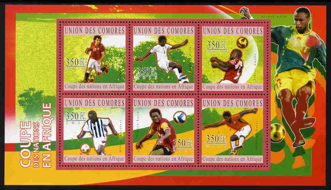 Comoro Islands 2010 Football - African Nations Cup perf sheetlet containing 6 values unmounted mint