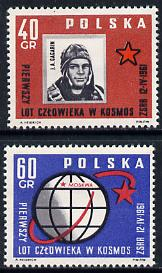 Poland 1961 World's First Manned Space Flight (Gagarin) unmounted mint set of 2 SG 1221-22