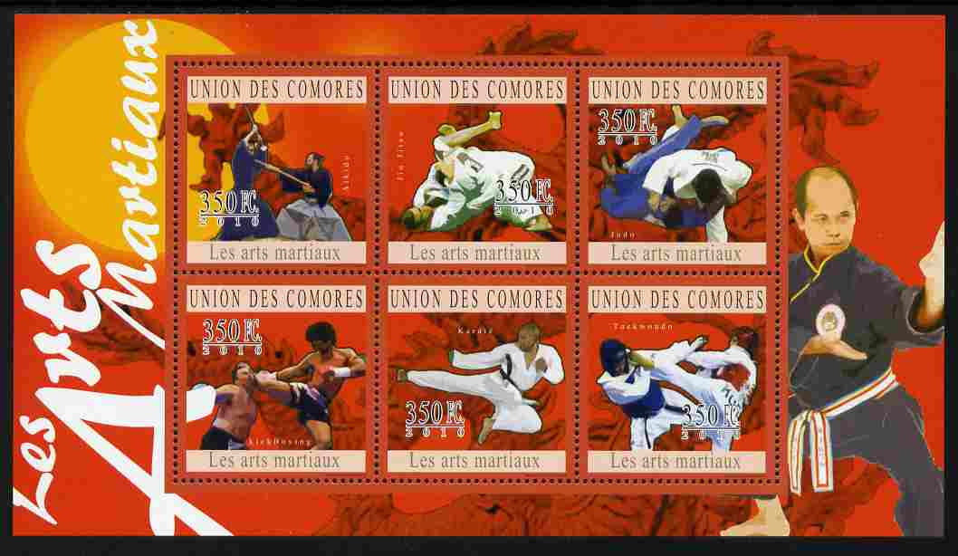 Comoro Islands 2010 Martial Arts perf sheetlet containing 6 values unmounted mint