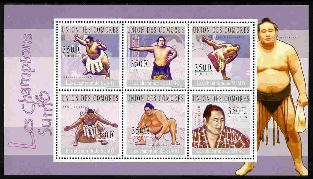 Comoro Islands 2010 Champions of Sumo Wrestling perf sheetlet containing 6 values unmounted mint