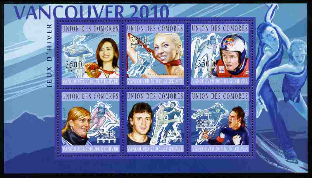 Comoro Islands 2010 Vancouver Olympic Winners perf sheetlet containing 6 values unmounted mint