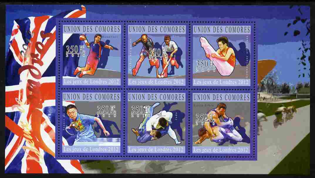 Comoro Islands 2010 London 2012 Olympics perf sheetlet containing 6 values unmounted mint