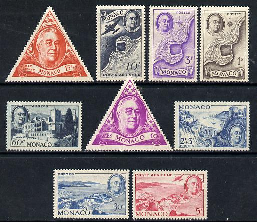 Monaco 1946 Pres Roosevelt Commem set of 9 (lightly mounted mint) SG 327-35