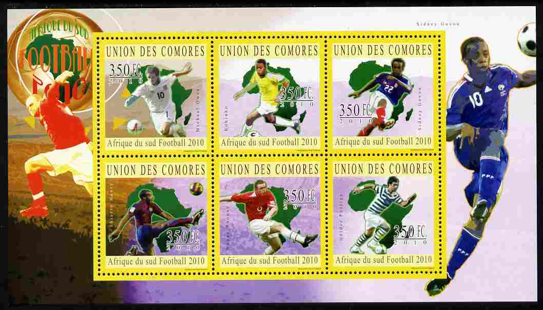 Comoro Islands 2010 South African Footballers #1 perf sheetlet containing 6 values unmounted mint