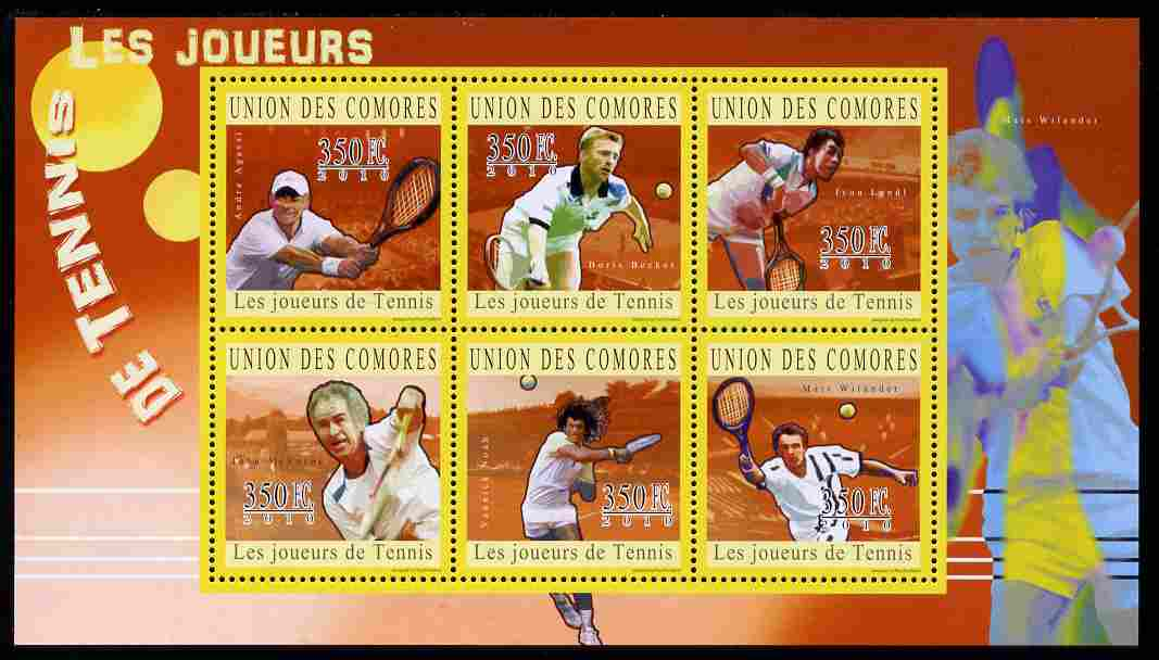 Comoro Islands 2010 Lawn Tennis perf sheetlet containing 6 values unmounted mint
