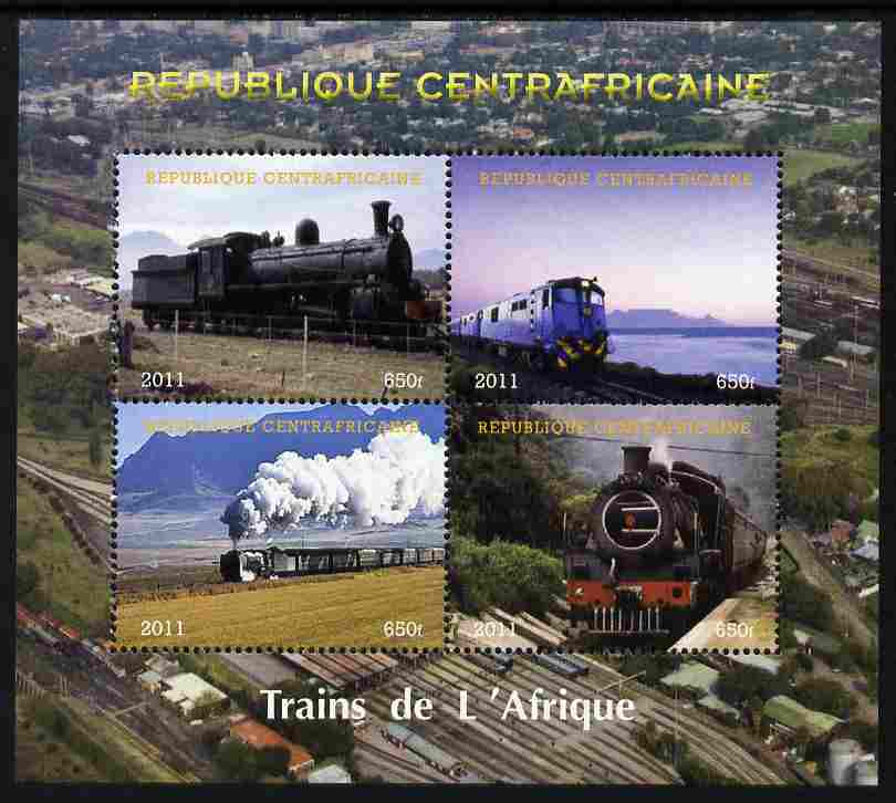 Central African Republic 2011 Railways - Trains of Africa perf sheetlet containing 4 values unmounted mint. Note this item is privately produced and is offered purely on its thematic appeal