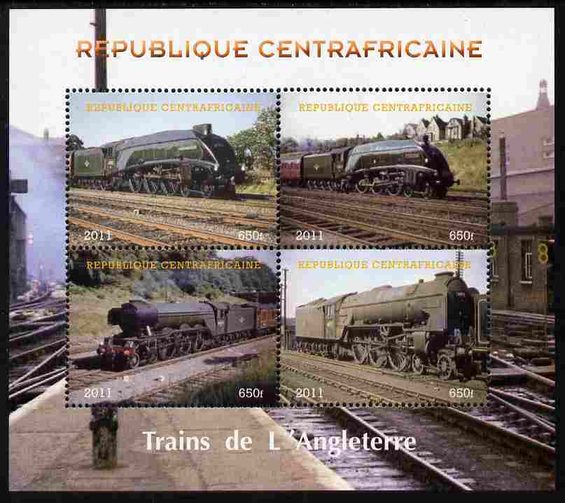 Central African Republic 2011 Railways - Trains of England perf sheetlet containing 4 values unmounted mint. Note this item is privately produced and is offered purely on its thematic appeal