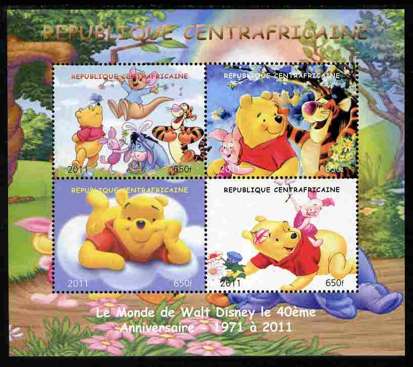 Central African Republic 2011 Winnie the Pooh perf sheetlet containing 4 values unmounted mint. Note this item is privately produced and is offered purely on its thematic appeal