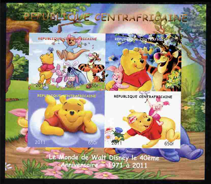 Central African Republic 2011 Winnie the Pooh imperf sheetlet containing 4 values unmounted mint. Note this item is privately produced and is offered purely on its thematic appeal