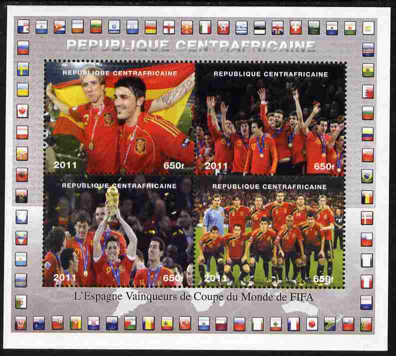 Central African Republic 2011 Football World Cup Winners - Spain perf sheetlet containing 4 values unmounted mint. Note this item is privately produced and is offered purely on its thematic appeal, it has no postal validity