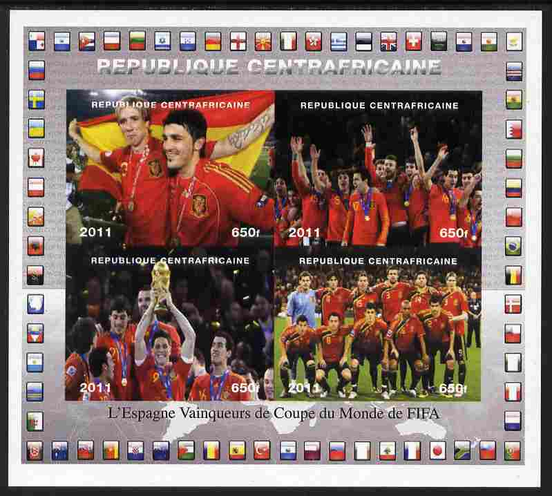Central African Republic 2011 Football World Cup Winners - Spain imperf sheetlet containing 4 values unmounted mint. Note this item is privately produced and is offered p...