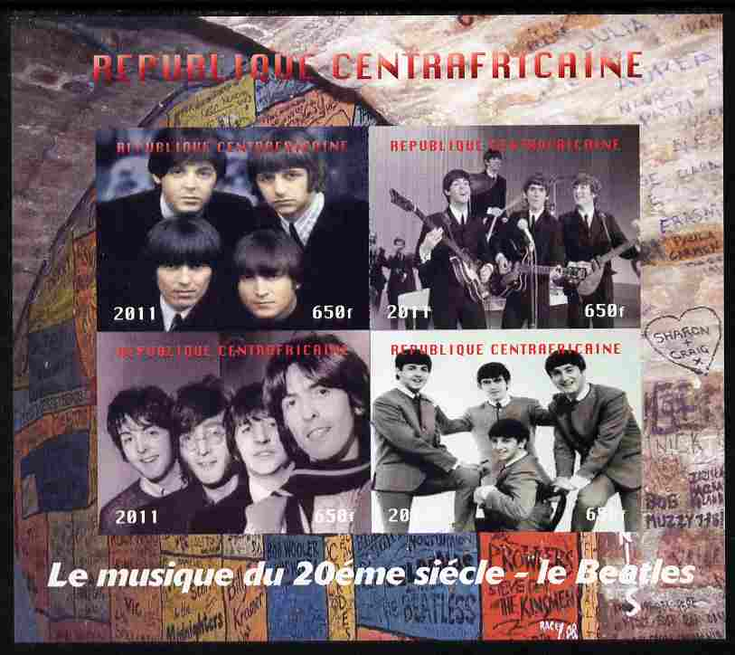 Central African Republic 2011 The Beatles #2 imperf sheetlet containing 4 values unmounted mint. Note this item is privately produced and is offered purely on its thematic appeal