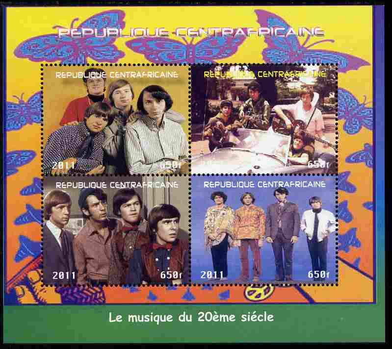 Central African Republic 2011 The Monkeys (pop group) perf sheetlet containing 4 values unmounted mint. Note this item is privately produced and is offered purely on its thematic appeal