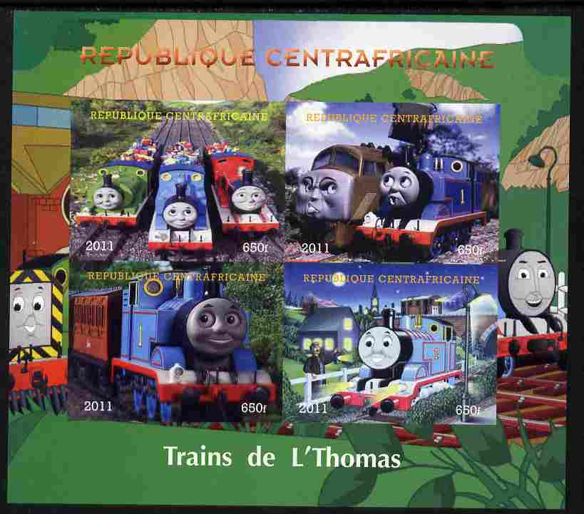 Central African Republic 2011 Thomas the Tank Engine imperf sheetlet containing 4 values unmounted mint. Note this item is privately produced and is offered purely on its thematic appeal