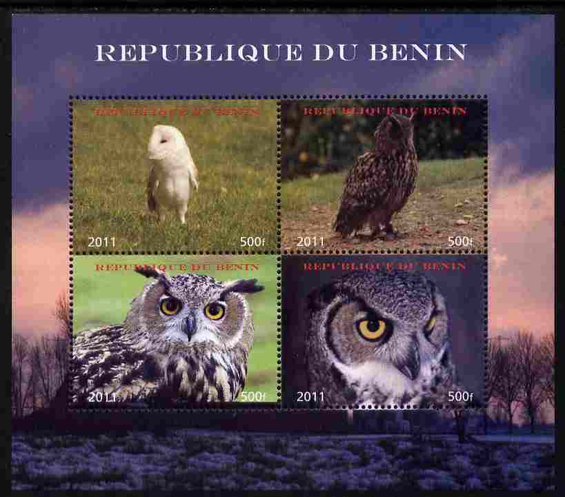 Benin 2011 Owls perf sheetlet containing 4 values unmounted mint. Note this item is privately produced and is offered purely on its thematic appeal