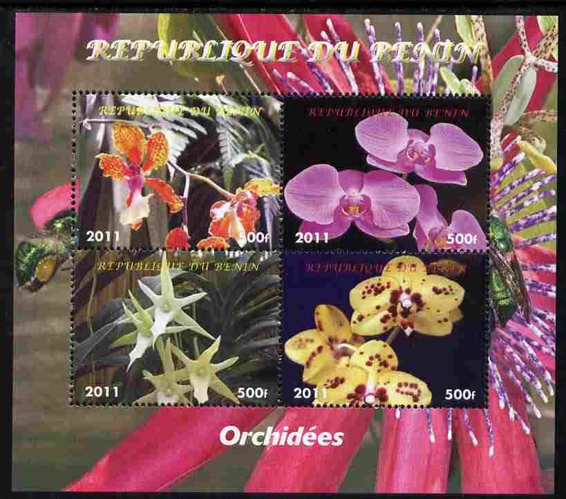 Benin 2011 Orchids perf sheetlet containing 4 values unmounted mint. Note this item is privately produced and is offered purely on its thematic appeal