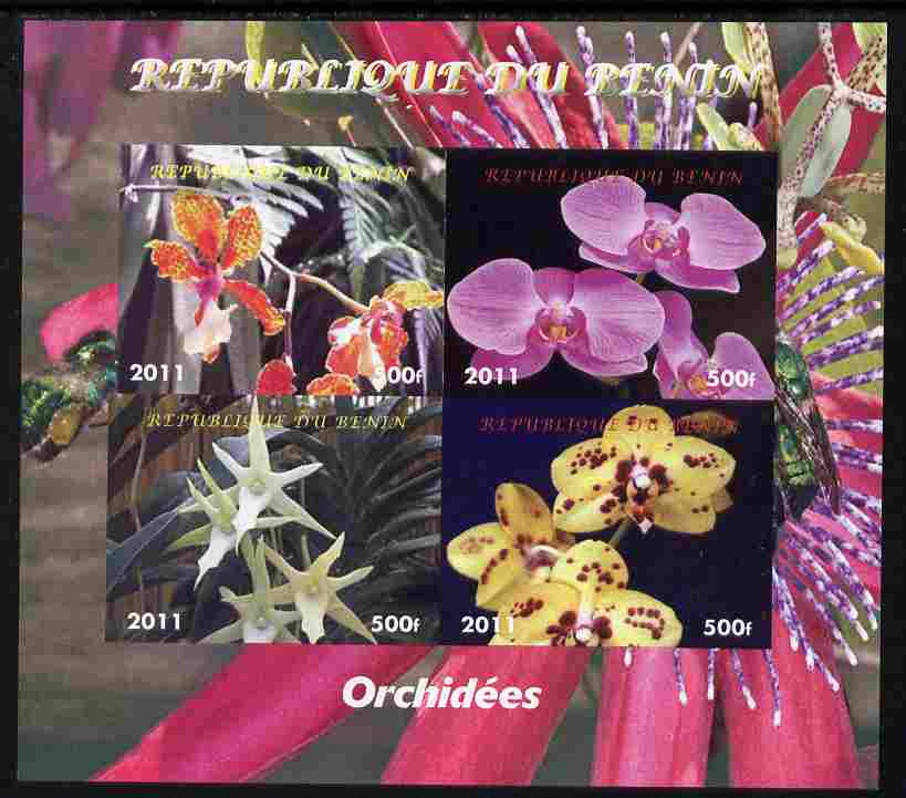 Benin 2011 Orchids imperf sheetlet containing 4 values unmounted mint. Note this item is privately produced and is offered purely on its thematic appeal
