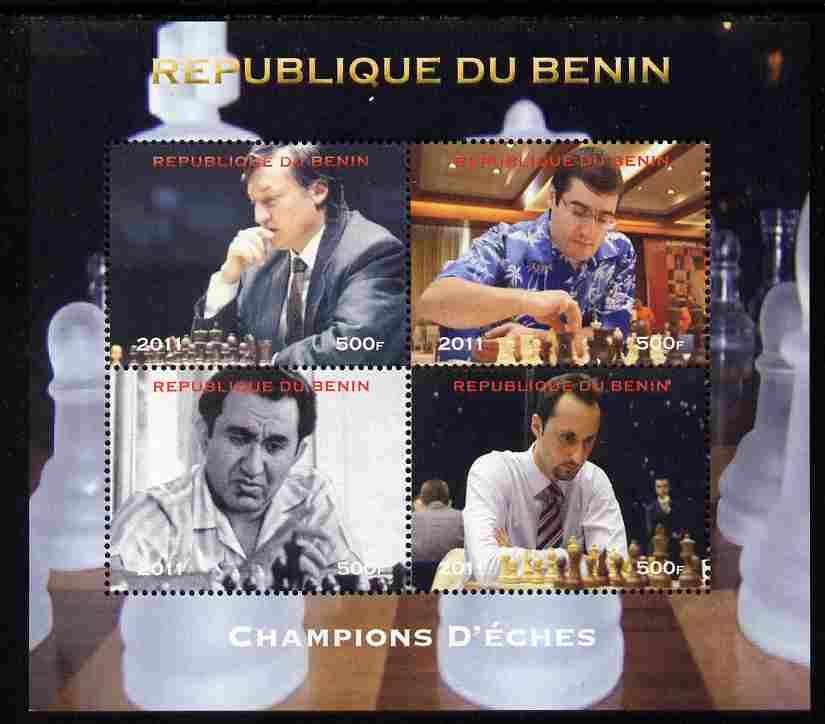 Benin 2011 Chess Champions perf sheetlet containing 4 values unmounted mint. Note this item is privately produced and is offered purely on its thematic appeal, it has no postal validity