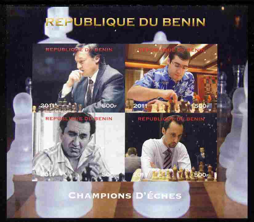 Benin 2011 Chess Champions imperf sheetlet containing 4 values unmounted mint. Note this item is privately produced and is offered purely on its thematic appeal