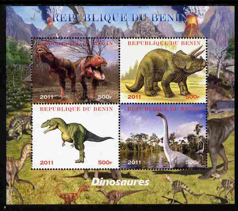 Benin 2011 Dinosaurs perf sheetlet containing 4 values unmounted mint. Note this item is privately produced and is offered purely on its thematic appeal