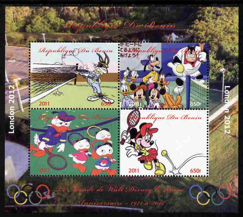 Benin 2011 The World of Walt Disney - Olympic Sports - Tennis perf sheetlet containing 4 values unmounted mint. Note this item is privately produced and is offered purely on its thematic appeal