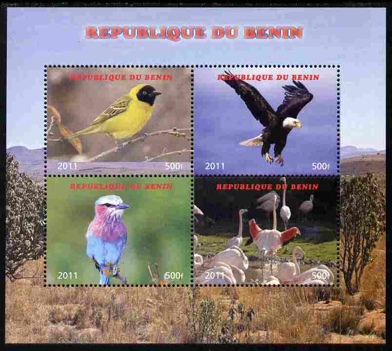Benin 2011 Birds perf sheetlet containing 4 values unmounted mint. Note this item is privately produced and is offered purely on its thematic appeal