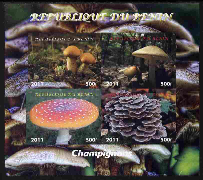 Benin 2011 Mushrooms imperf sheetlet containing 4 values unmounted mint. Note this item is privately produced and is offered purely on its thematic appeal, stamps on fungi