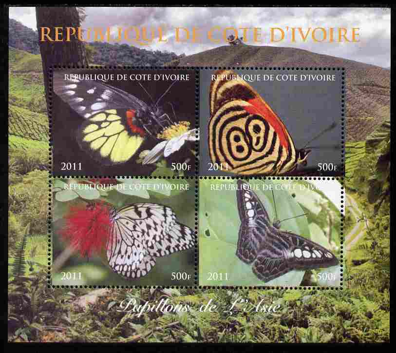 Ivory Coast 2011 Butterflies of Asia perf sheetlet containing 4 values unmounted mint. Note this item is privately produced and is offered purely on its thematic appeal
