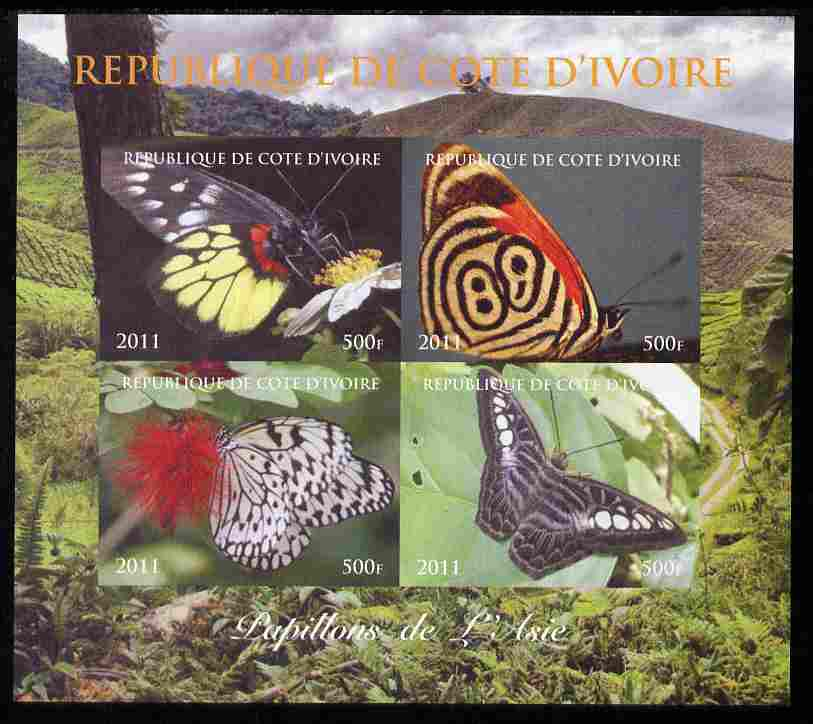 Ivory Coast 2011 Butterflies of Asia imperf sheetlet containing 4 values unmounted mint. Note this item is privately produced and is offered purely on its thematic appeal