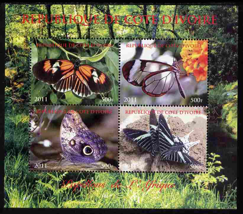 Ivory Coast 2011 Butterflies of Africa perf sheetlet containing 4 values unmounted mint. Note this item is privately produced and is offered purely on its thematic appeal